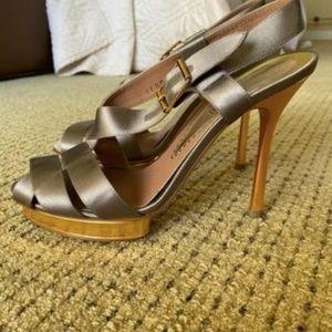 Giorgio Armani Italy Made 37 Size Silk Silver/Gold